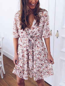 Fashion V-Neck Printed Waist Strap Short Sleeve Dress
