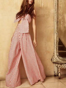Bow Wrapped Chest High Waist Wide Leg Pants Suit