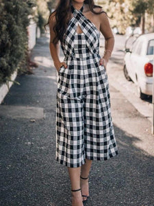 Fashion Halter Checked Jumpsuit