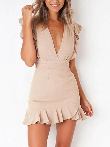 Sexy V-Neck Ruffled Slim Bag Hip Strap Waist Slimming Dress
