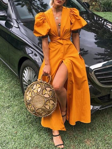 Sexy Deep V Belted Pure Colour Short Sleeve Vacation Maxi Dresses