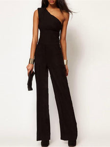 Sexy Single Shoulder Sleeveless Slim Jumpsuits