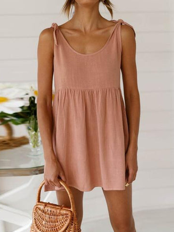 Round Neck Tie Strap Mini Dress