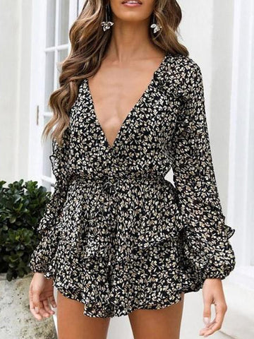 Sexy V-Neck Printed Long Sleeve Dress (Video)