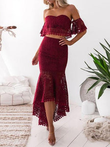 Fashion Ruffled Off-The-Shoulder   Lace Dress