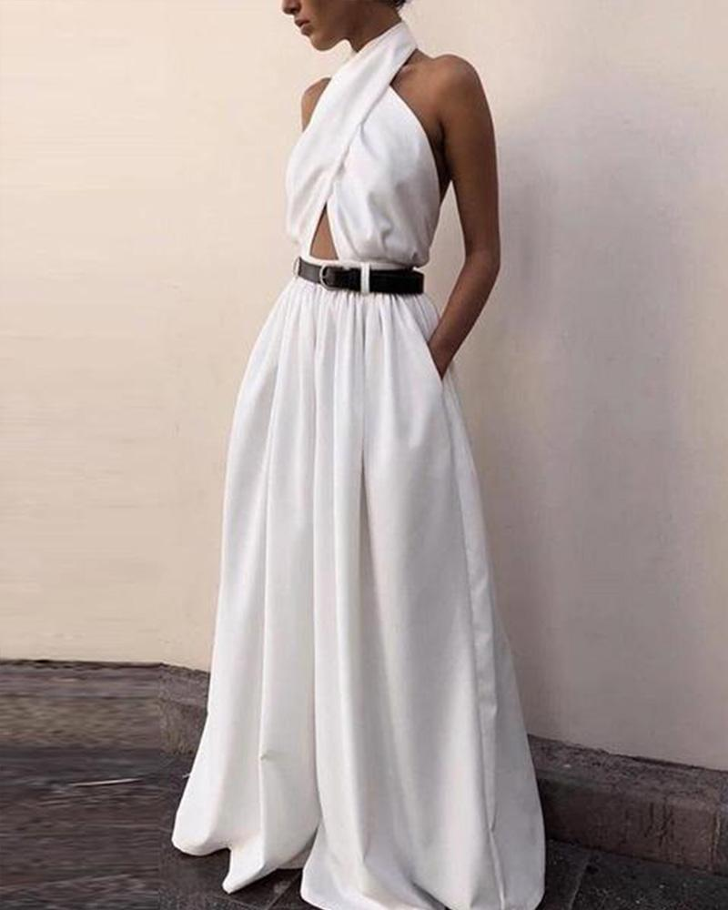 Casual Sexy Sling Off The Shoulder Backless   Pure Color Maxi Dress