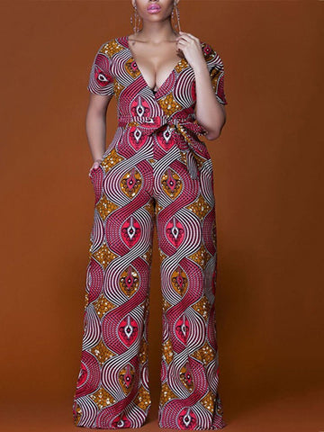 V-Neck Sexy Low-Cut Thin Print Jumpsuit