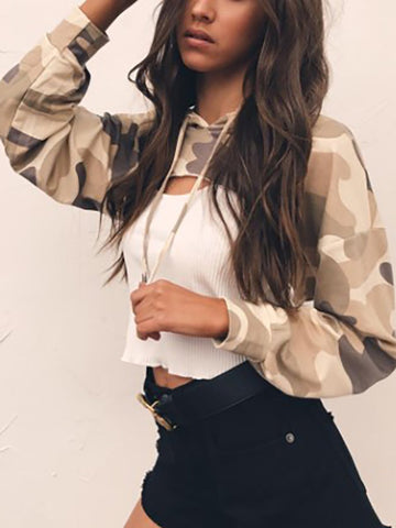 Hooded Drawstring Exposed Navel Camouflage Blouses