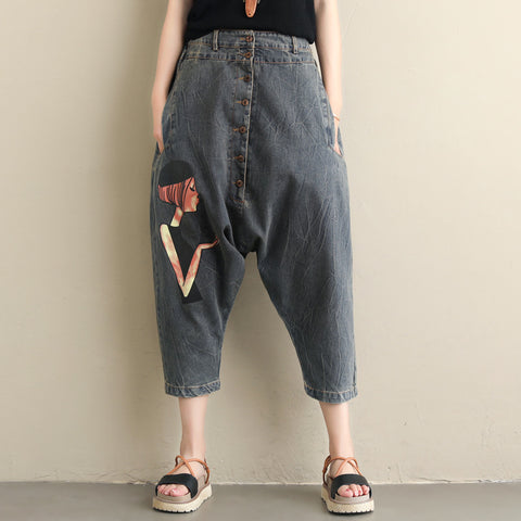 Loose personality printed pants