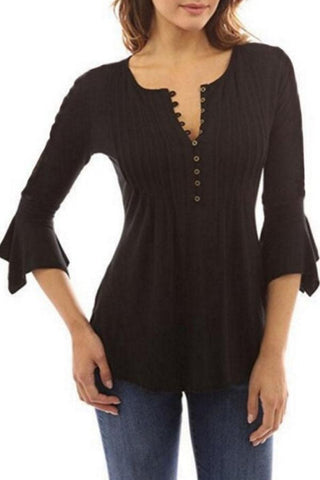 Round Neck  Bell Sleeve  Blouses