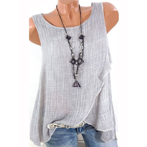 Summer  Cotton  Women  Round Neck  Asymmetric Hem Patchwork  Plain  Sleeveless Blouses