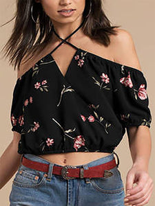Sexy Floral Printed Off Shoulder Short Sleeves Blouses
