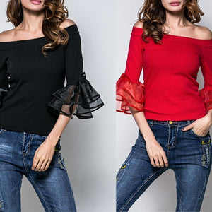Fashion Sexy Off Shoulder Chiffon Blouse