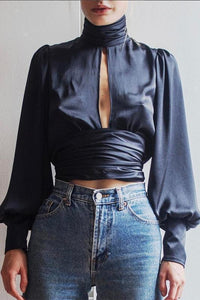 Fashion High Collar Puff Sleeve Backless Blouse
