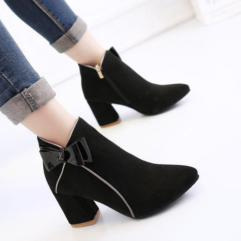 Chunky Heel Point Toe Bow-Knot Boots