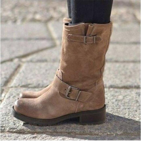 Fashion Low Heel Plain Buckle Boots