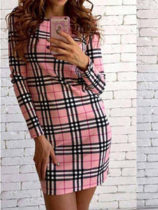 Crew Neck  Cutout Patchwork  Bust Darts Contrast Stitching  Plaid Bodycon Dresses