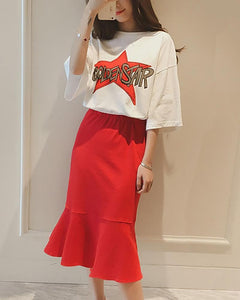 Letter Short-Sleeved T-Shirt   Ruffled Half Skirt Casual Suit