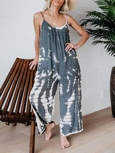 Sling U-Neck Abstract Print Jumpsuit