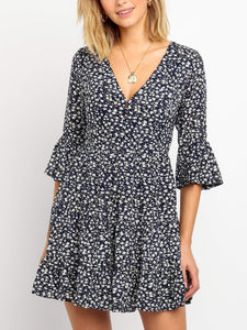 Fashion Deep V Short Sleeve Printed Dress