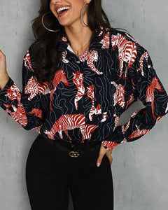 Casual Lapel Long Sleeve Printed T-Shirts