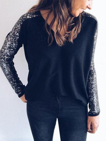 Fashionable V Neck Beaded Sequins With Long Sleeve T Shirt Blouse