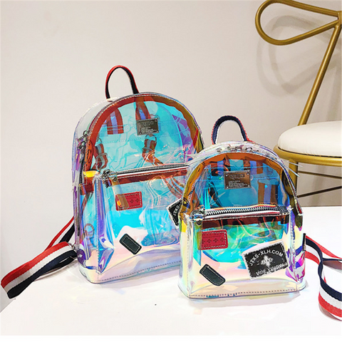 Fashion Laser Jelly Transparent Backpack