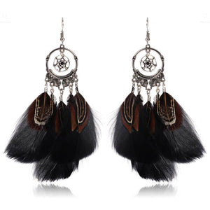 Bohemian   style feather round cutout earrings