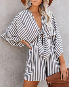 Striped Printed Bat Sleeve Chest Knotted Jumpsuit