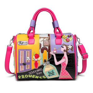 Creative cartoon embroidery stitching messenger bag