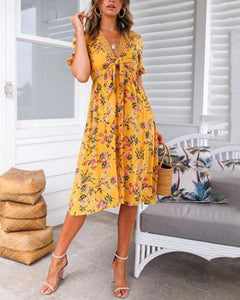 Fashion Print V-Neck Elastic   Waist Dress