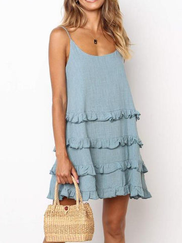 Temperate Ruffled Tie U-Neck   Solid Color Mini Dress
