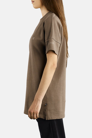 "OVERSIZED SHORT SLEEVE SWEATSHIRT ""SAND"""