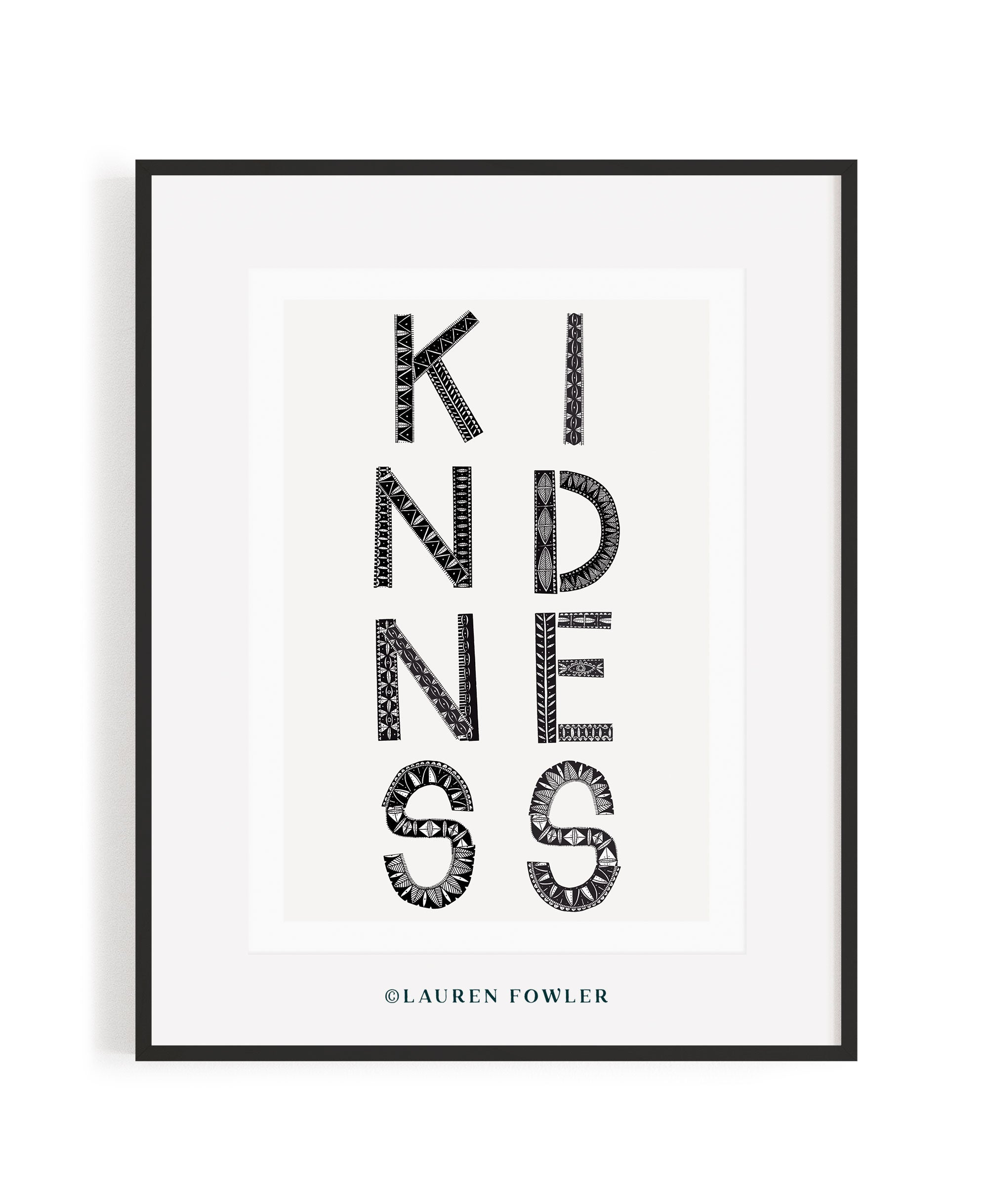 A2 Kindness Art print black colour
