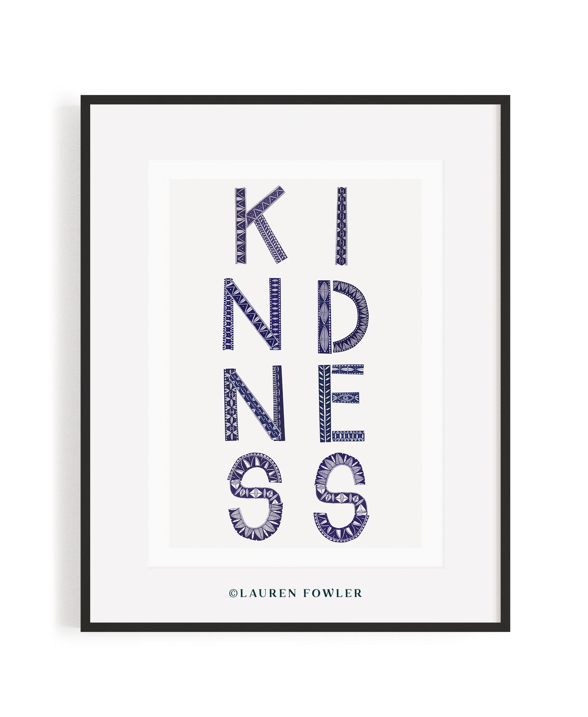A2 Kindness Art print indigo colour