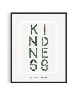 A2 Kindness Art print moss colour
