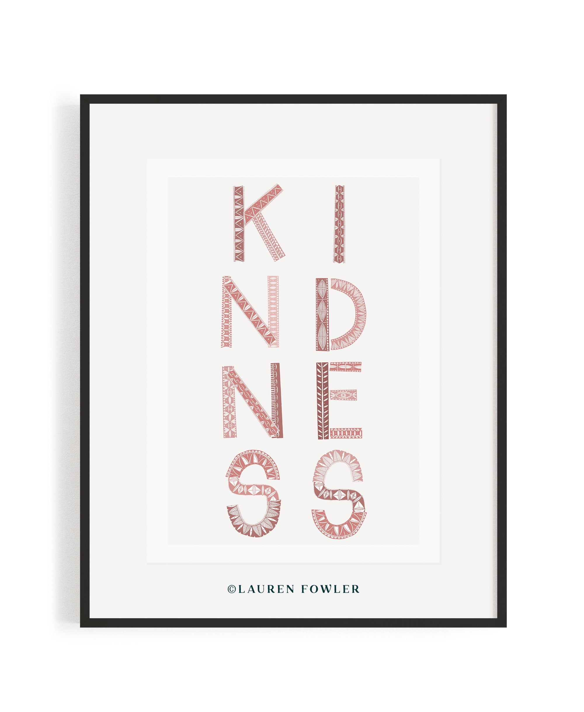 A2 Kindness Art print pink colour