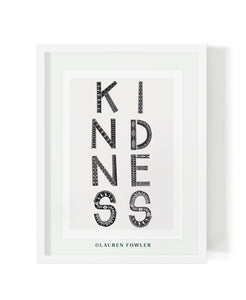 A3 Kindness Art print black colour