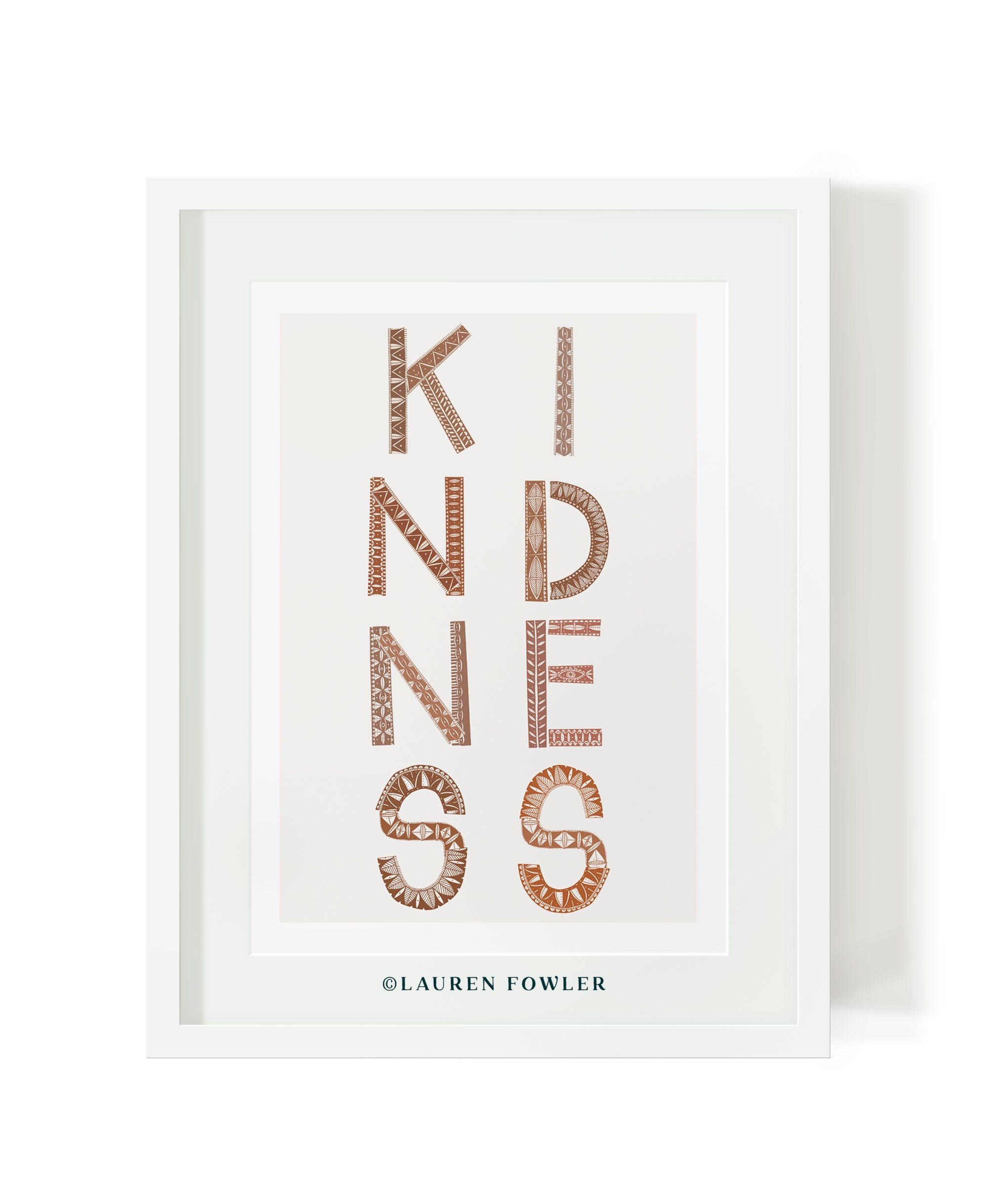 A3 Kindness Art print earth colour