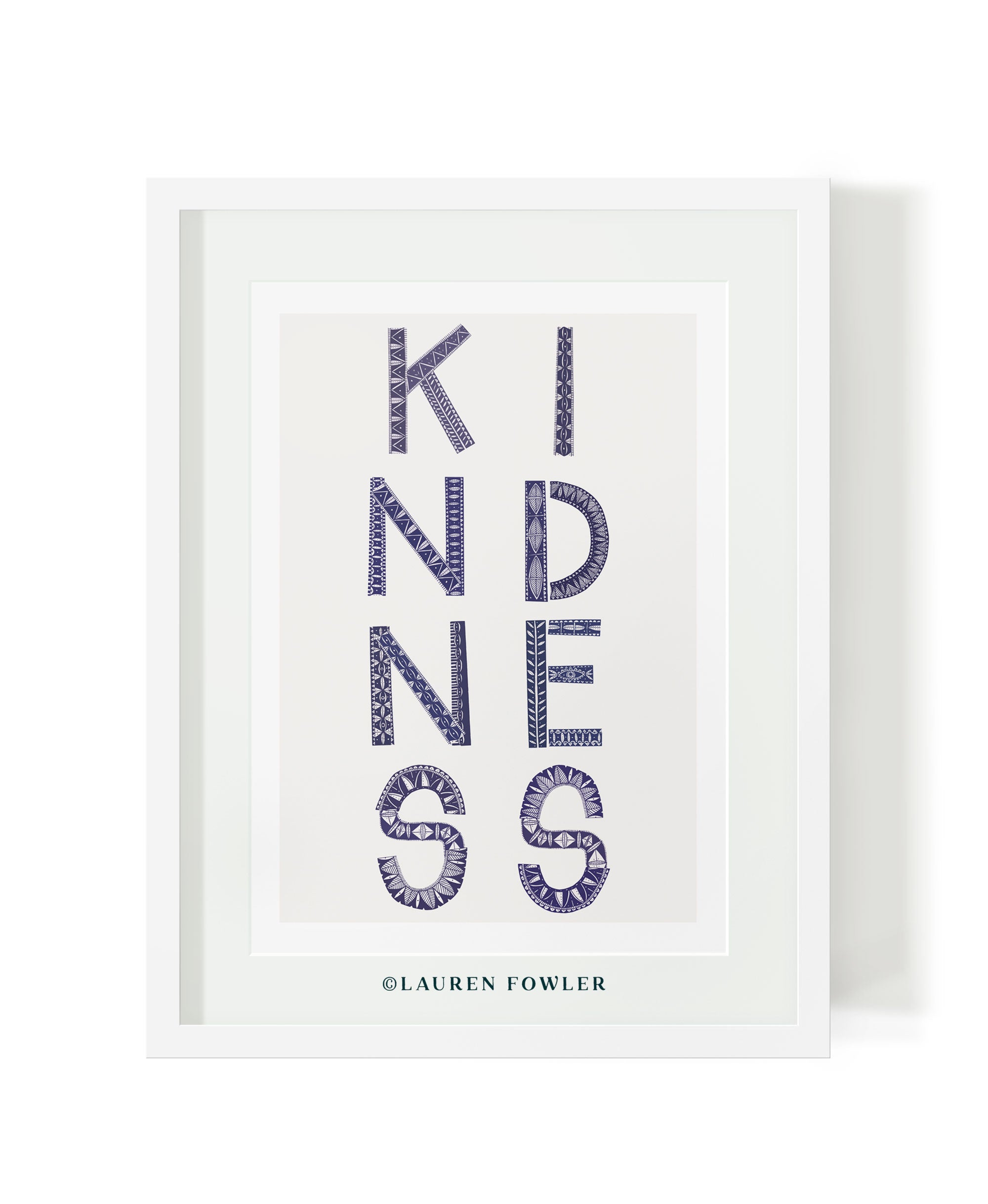 A3 Kindness Art print indigo colour