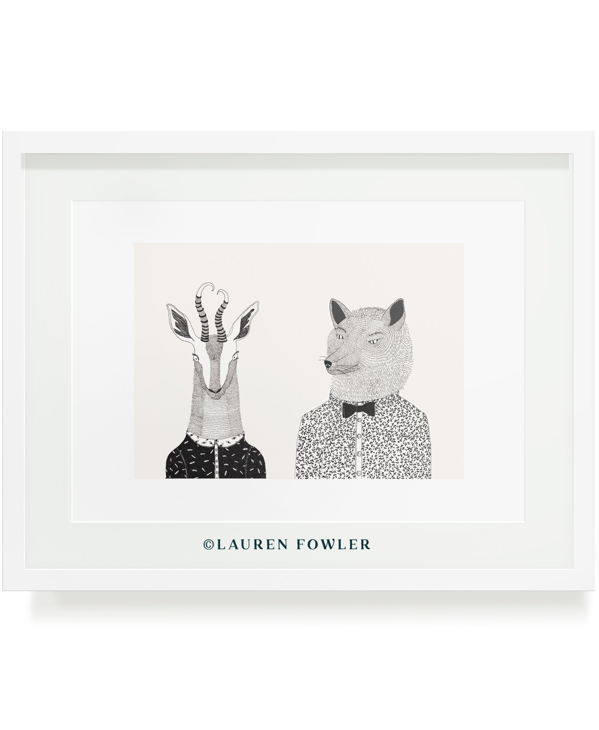 Bokkie and Wolf people as animals illustrated artwork by Lauren Fowler