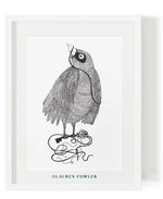 Black and white bird key illustrated artwork by Lauren Fowler