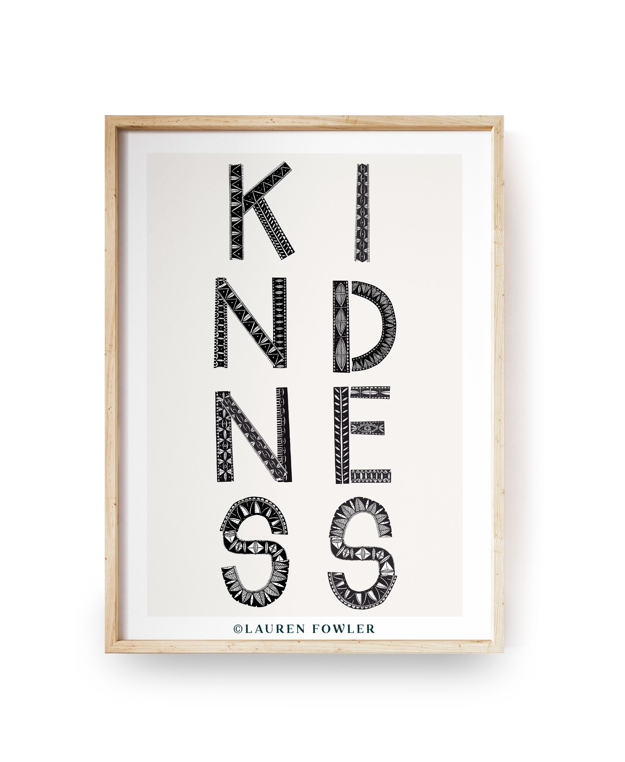 A4 Kindness Art print black colour