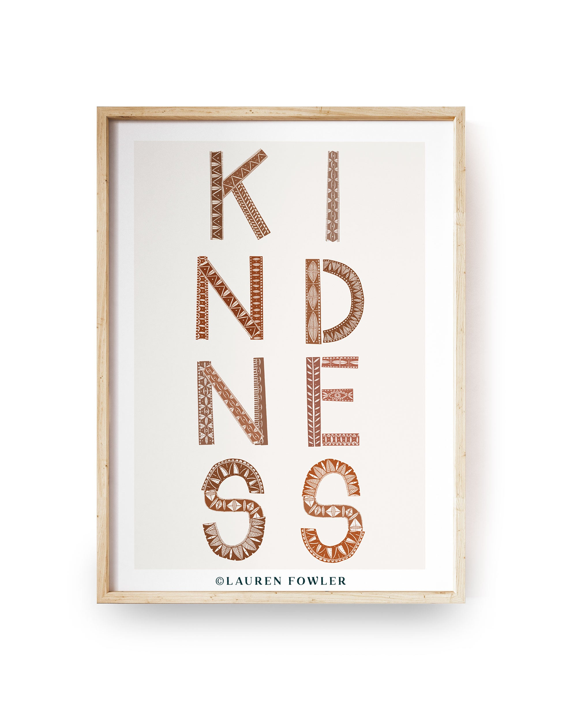 A4 Kindness Art print earth colour