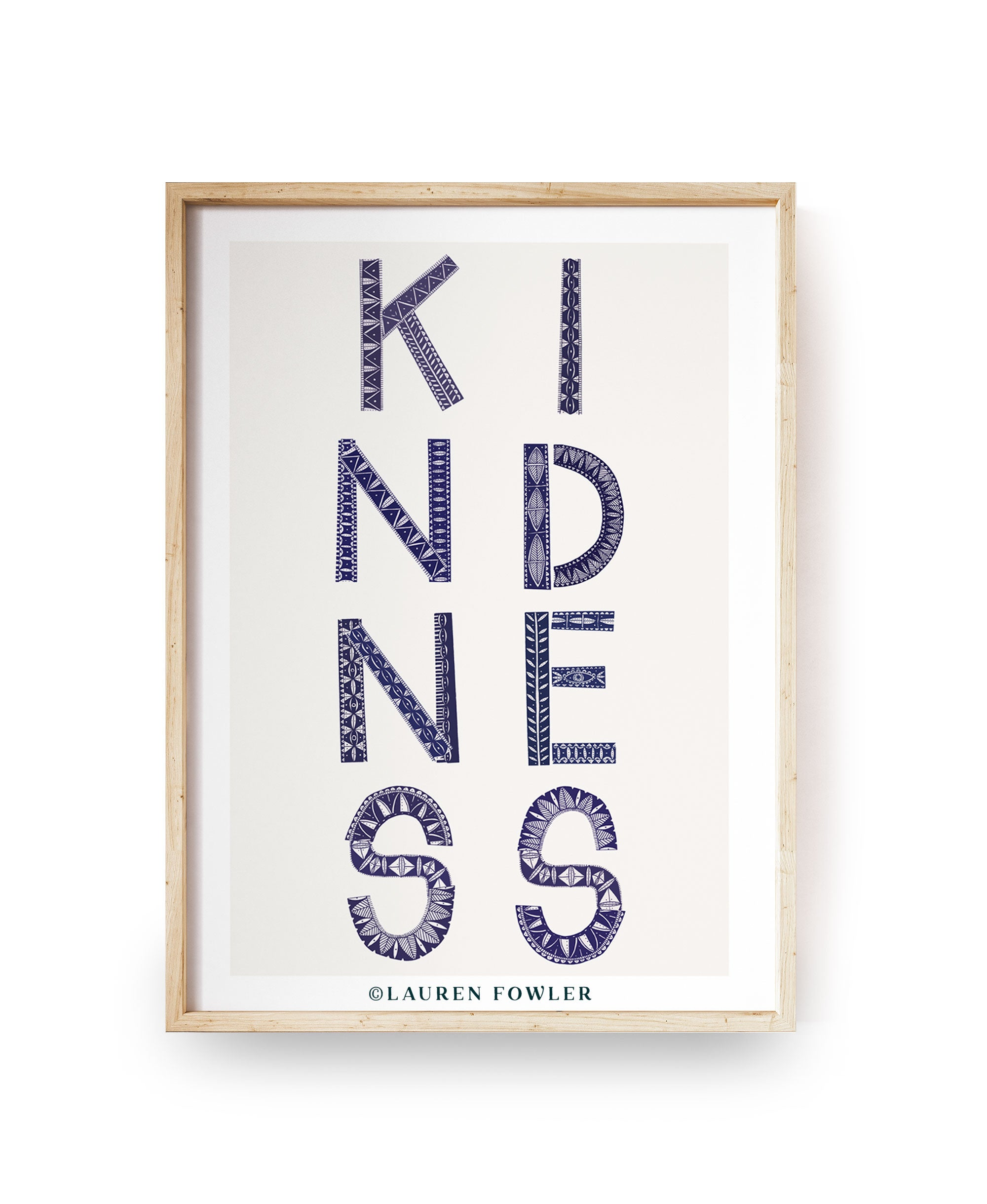 A4 Kindness Art print indigo colour
