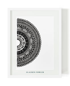 Black and white half mandala illustrated artwork by Lauren Fowler