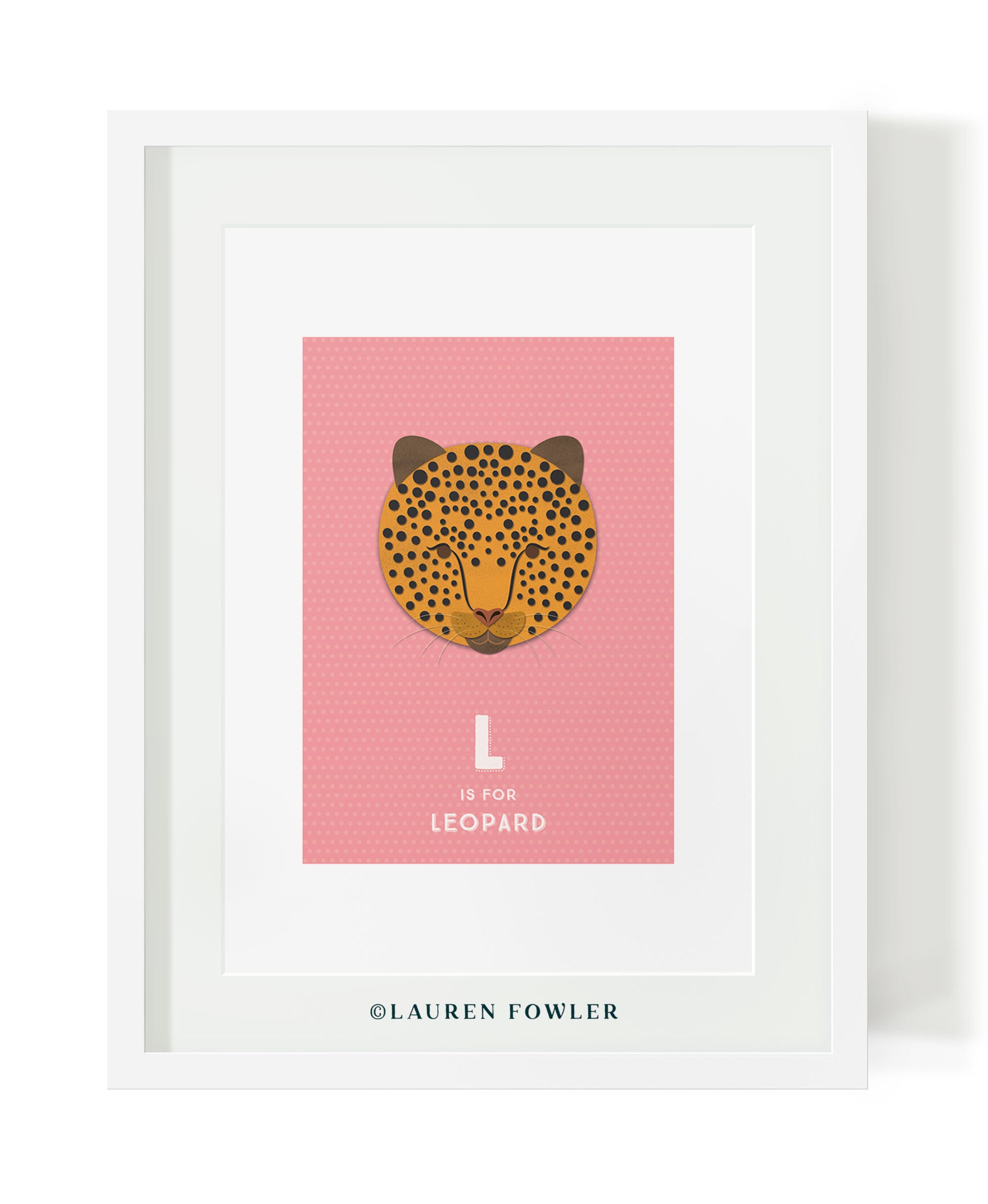 South African Big Five Leopard illustrated artwork by Lauren Fowler