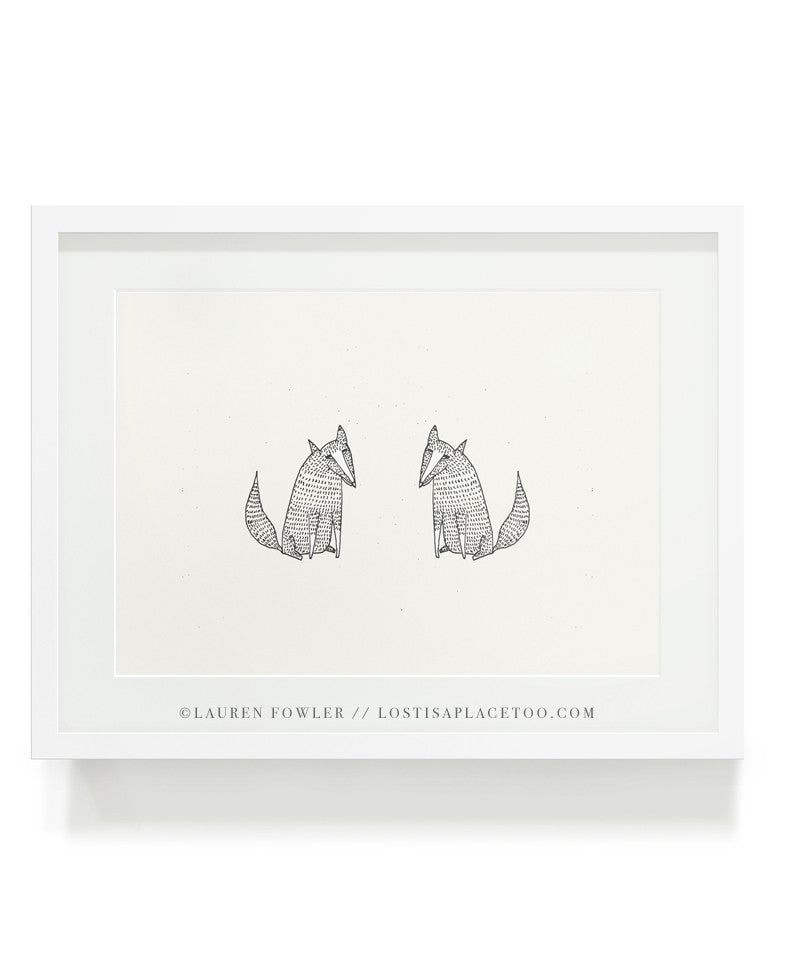 Two Foxes illustrated artwork by Lauren Fowler