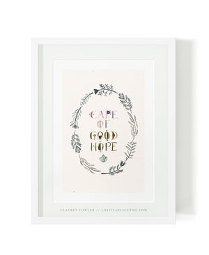 Cape of Good Hope with fynbos frame illustrated artwork by Lauren Fowler