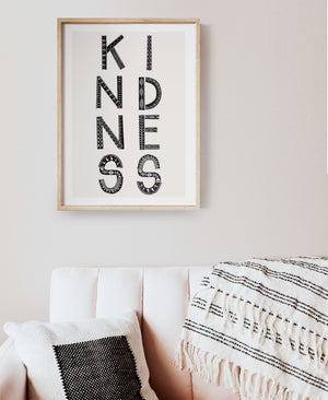 Kindness Art print black colour
